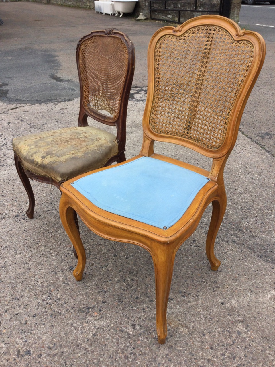 A Victorian mahogany cane backed chair with acanthus carved shield shaped moulded frame, the - Image 3 of 3
