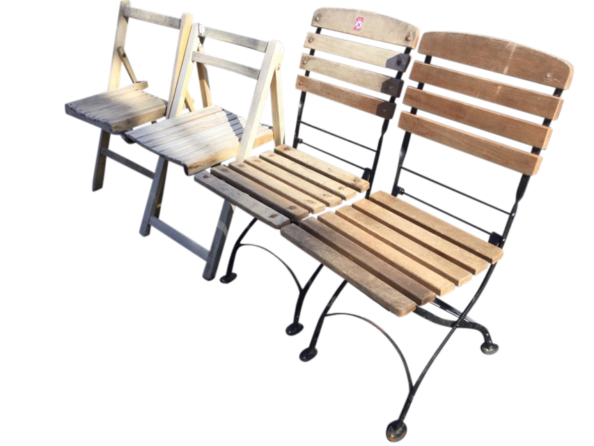 A pair of metal framed folding garden chairs with slatted backs & seats; and two other wood