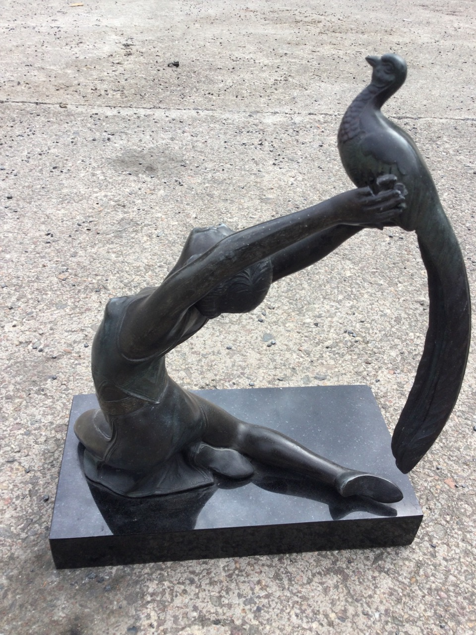 A French art deco style spelter figure of a dancing girl after Salvado, the bronze patinated lady - Image 2 of 3