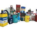 A large quantity of used cans - paint, oil, thinners, sealants, cleaning materials, coatings, some