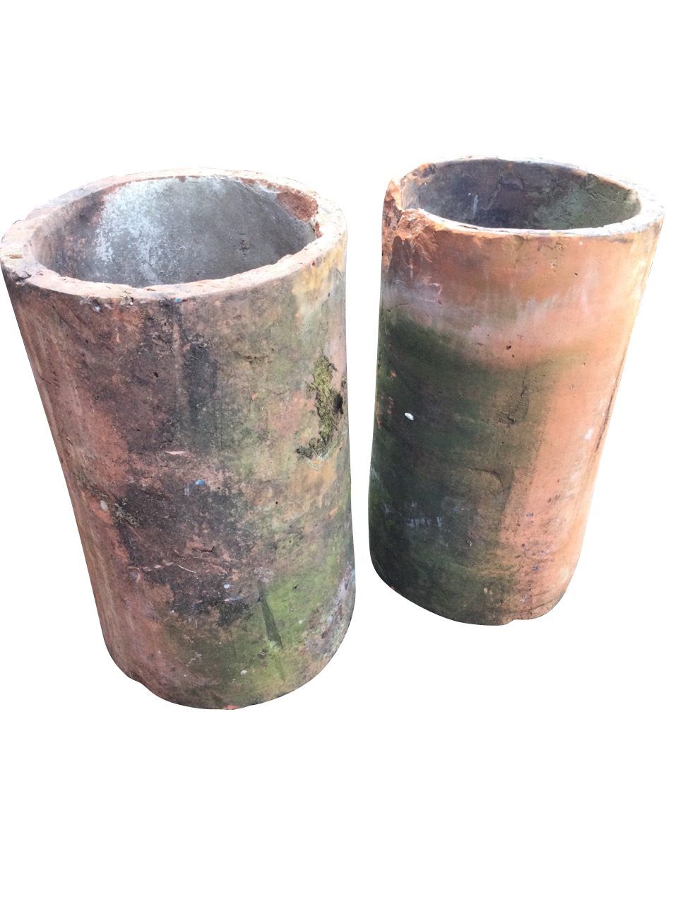 A pair of large tubular terracotta pipes - used as garden planters. (14in x 24in) (2)