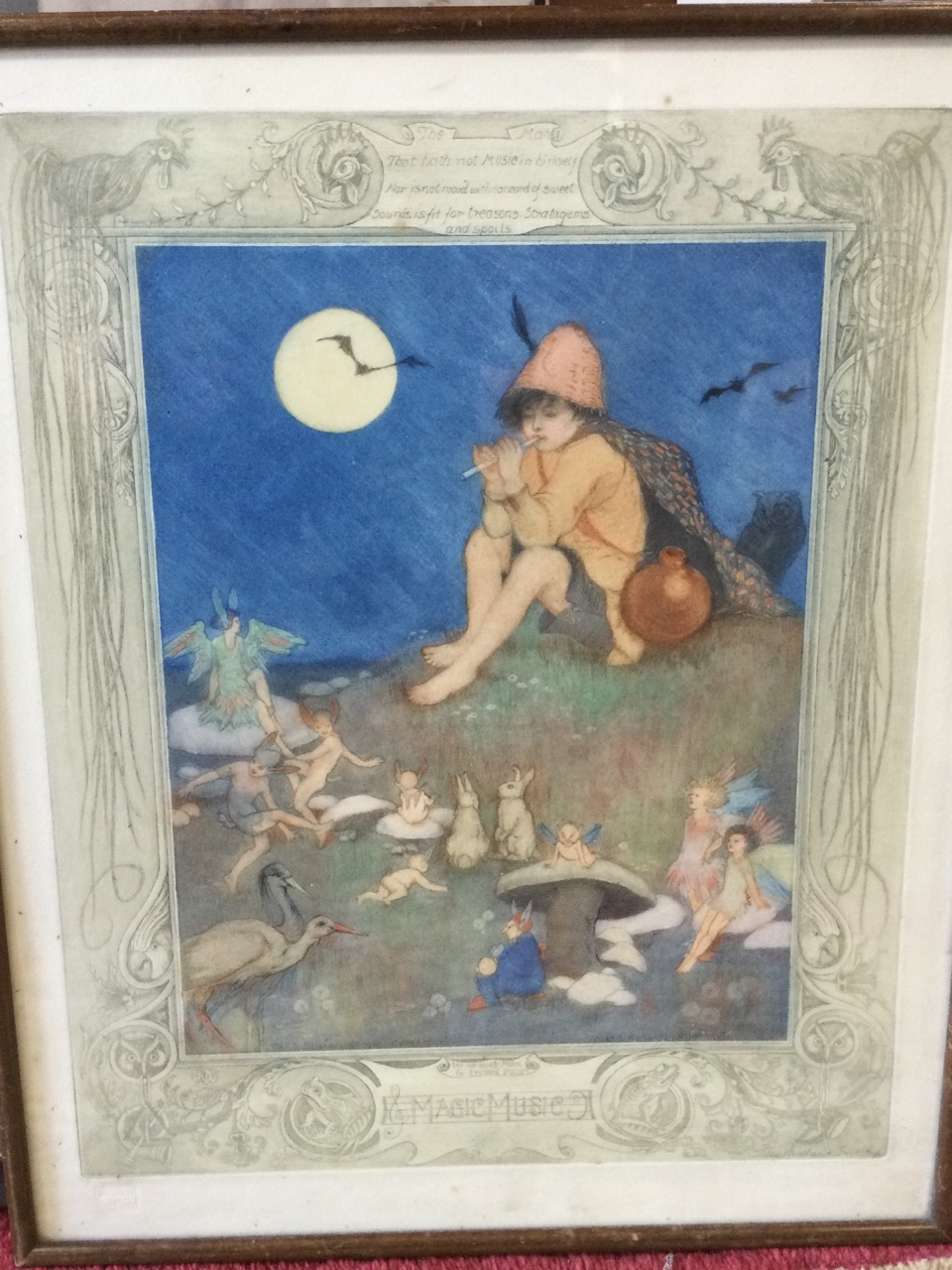 A 1918 etching by Averil Burleigh & Fred Millar, the plate titled Magic Music, handcoloured and