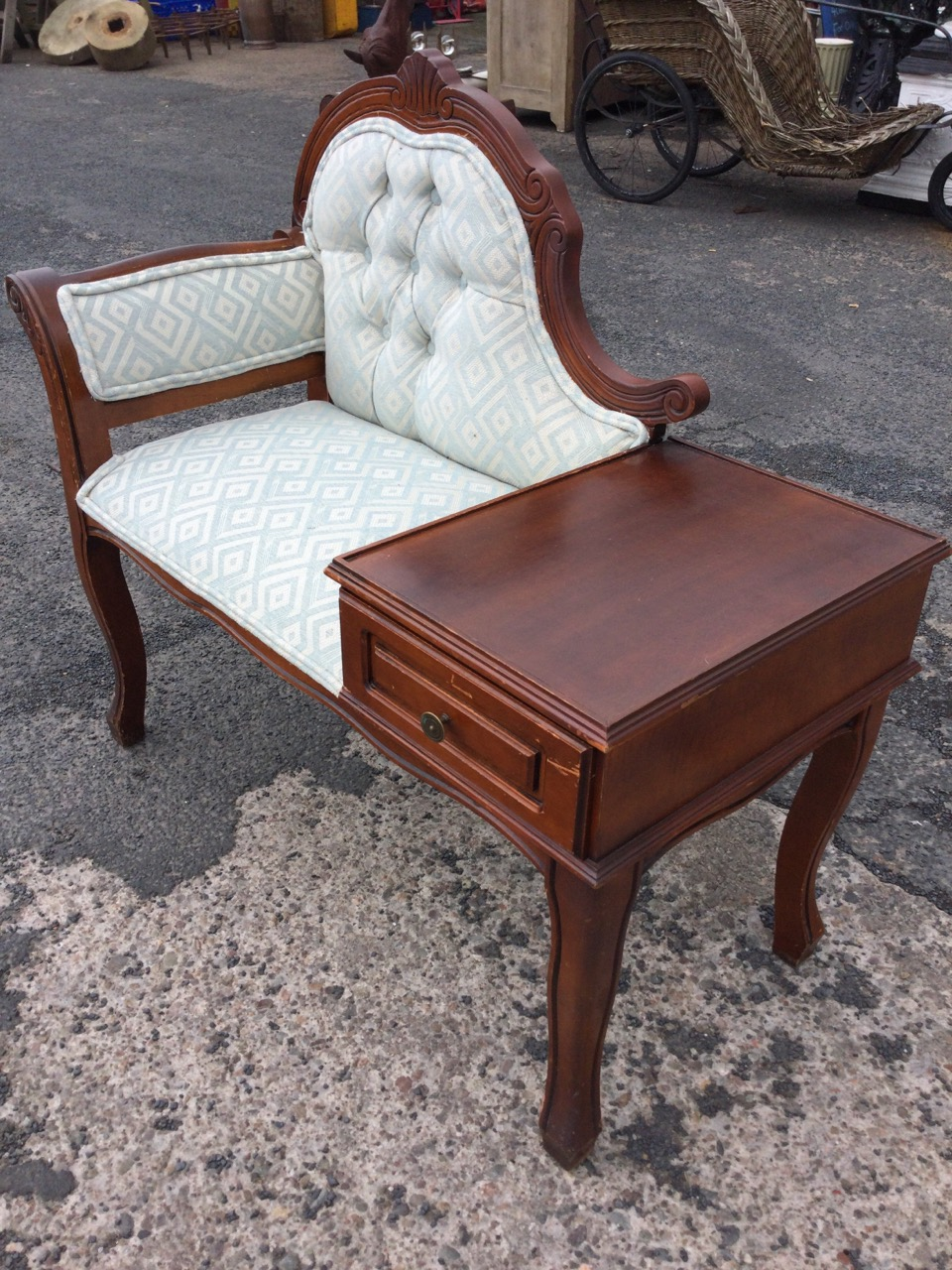 A mahogany telephone table, with rectangular tray-top platform above a fielded panelled drawer, - Image 3 of 3