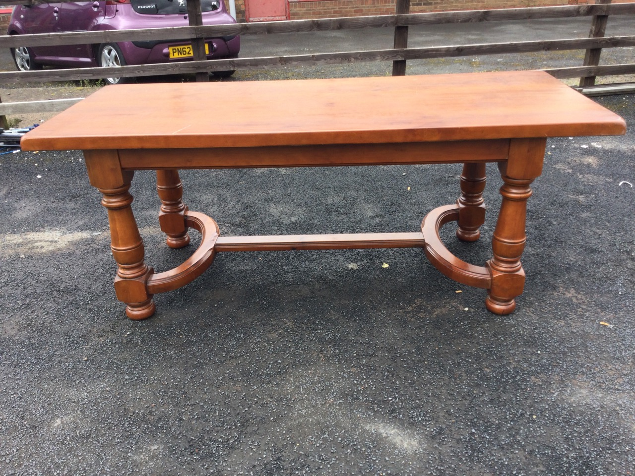 A continental style refrectory table with thick rectangular top on bulbous turned tapering legs - Image 2 of 3