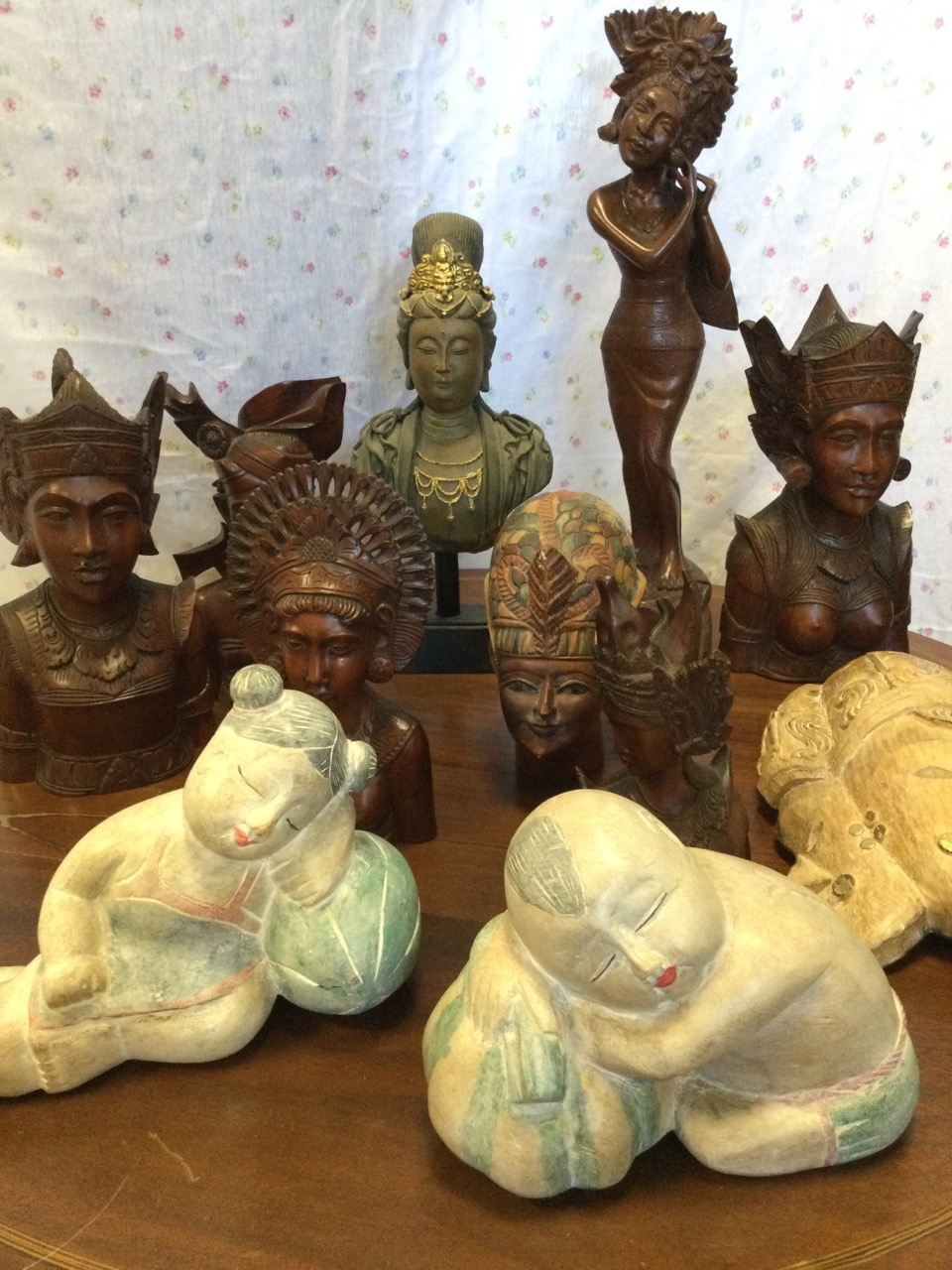 A collection of eastern carved figural wood pieces including Thai type busts, two painted sleeping - Image 3 of 3