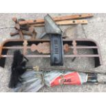 Miscellaneous items including a Victorian steel fender, a set of chimneysweep brushes, three