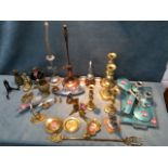 Miscellaneous brass & chrome including two pairs of Victorian candlesticks, three heavy car mascot