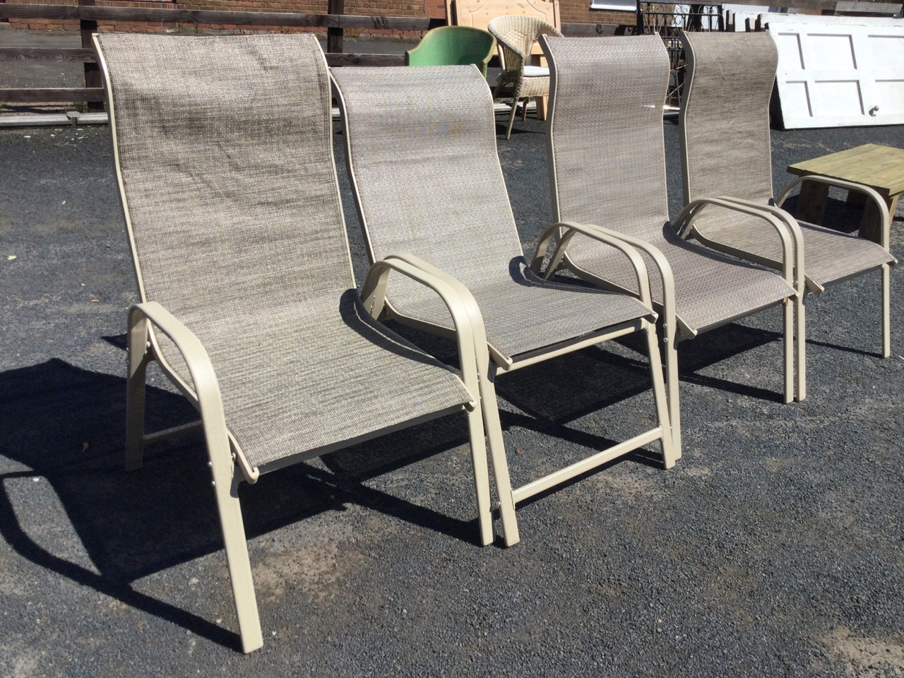 A set of four garden armchairs with fabric type seats on rounded rectangular metal frames. (4) - Image 3 of 3