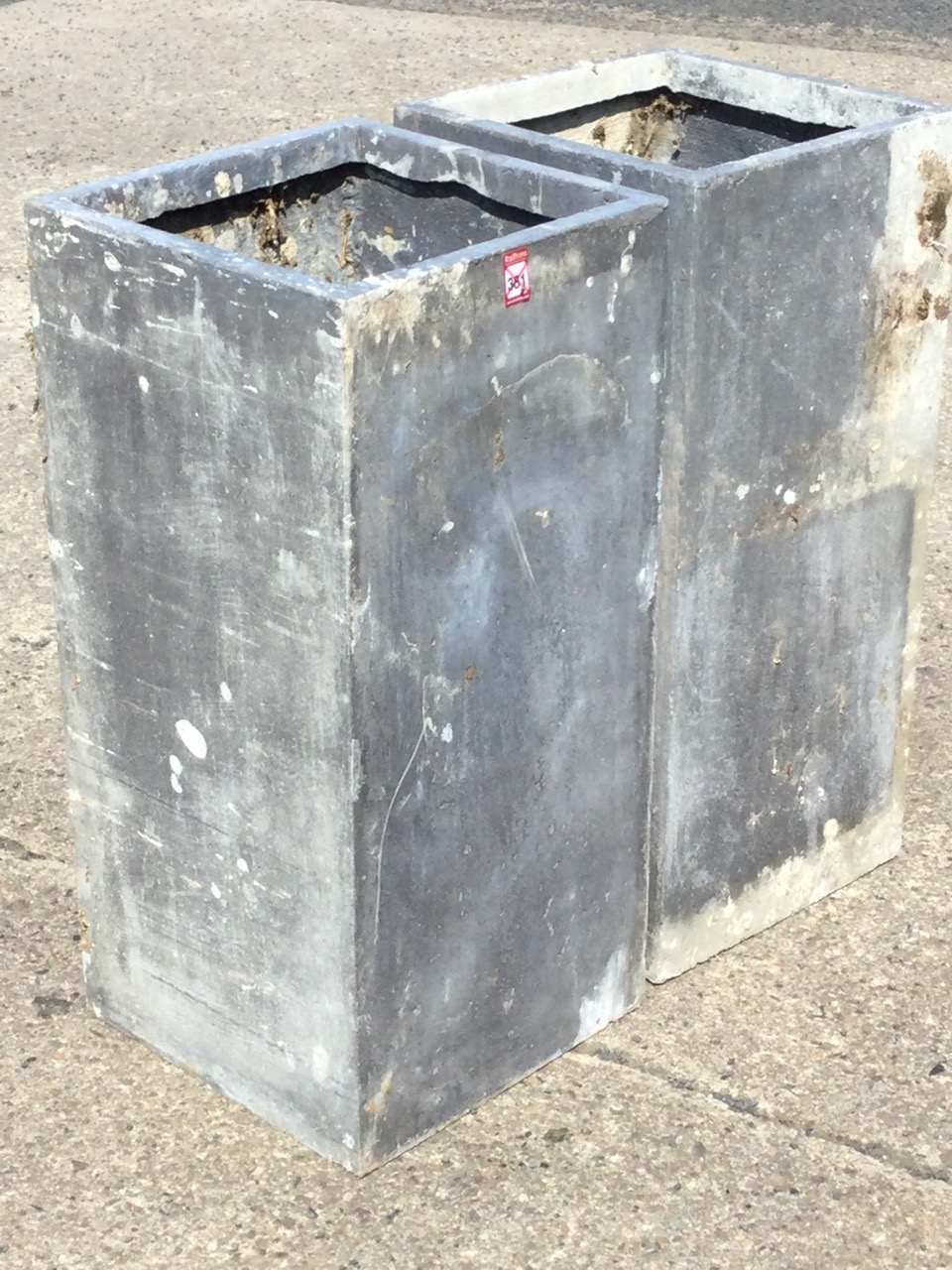 A pair of lead type resin garden planters of square column form. (28in) (2) - Image 2 of 3