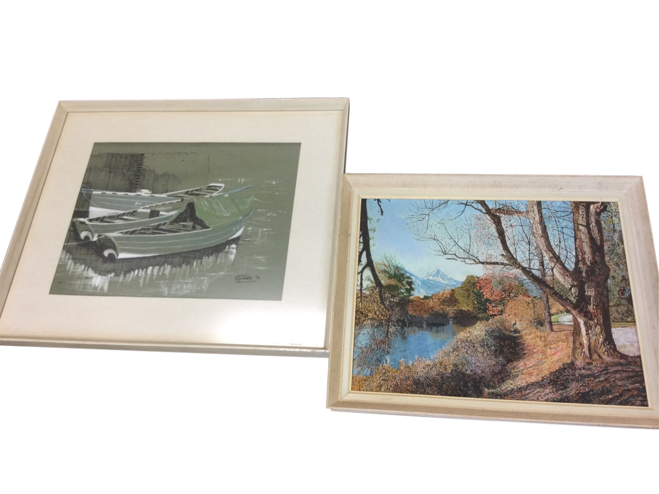 Scythes, pen, crayon & bodycolour on buff paper, boats tied up by quay wall, signed & dated 1971,
