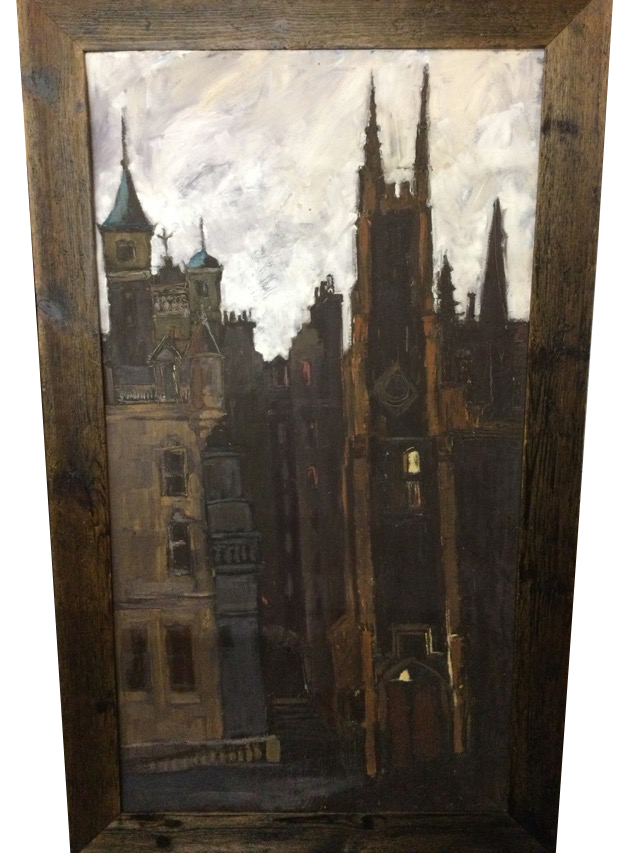 Clare Money, oil on board, townscape with buildings, signed to verso, framed. (23.5in x 43.75in)