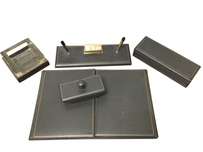 A 1950s grey leather mounted desk set with blotter, ashtray, cigarette box, pen stand, writing