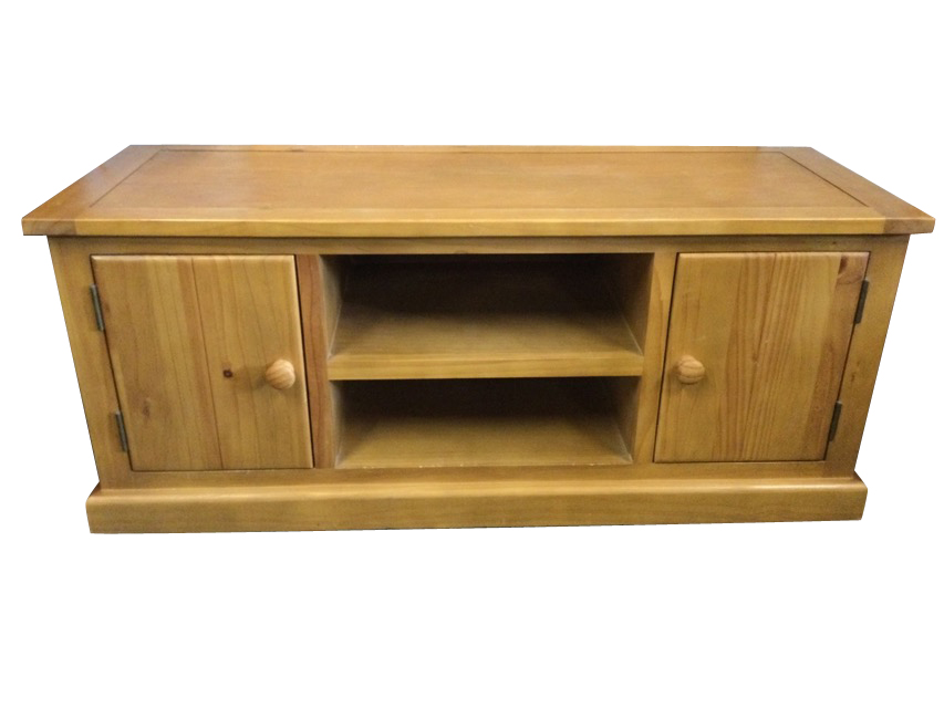 A contemporary oak side cabinet with rectangular top above central open shelves flanked by