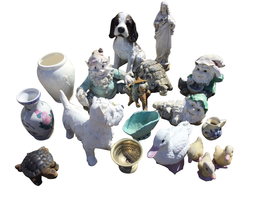 Miscellaneous ornaments including gnomes, vases, a tortoise, ducks, a Chinese stoneware figure, a
