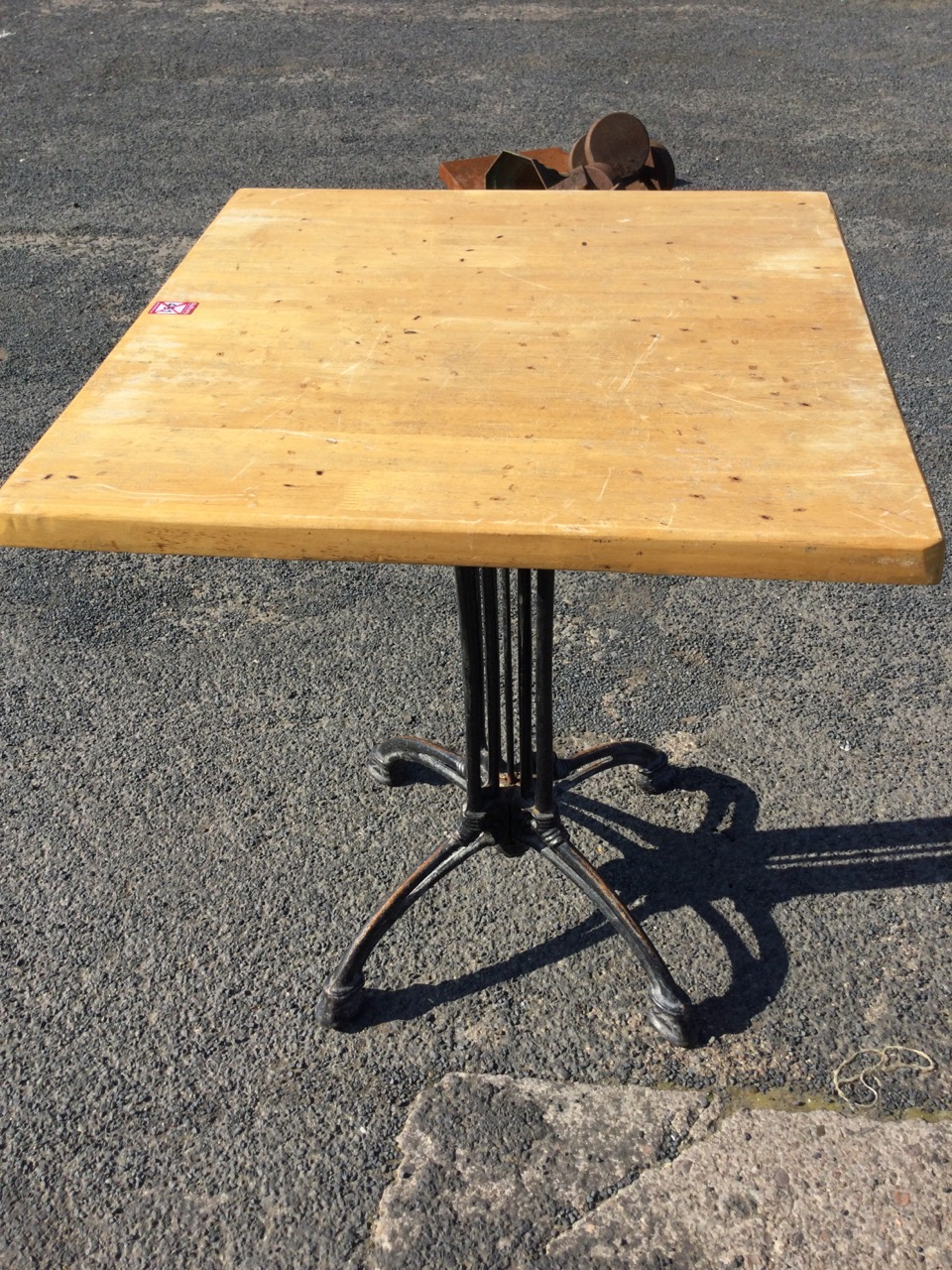A square pub type outside table with hardwood top on columns, having four arched legs with paw feet. - Image 3 of 3