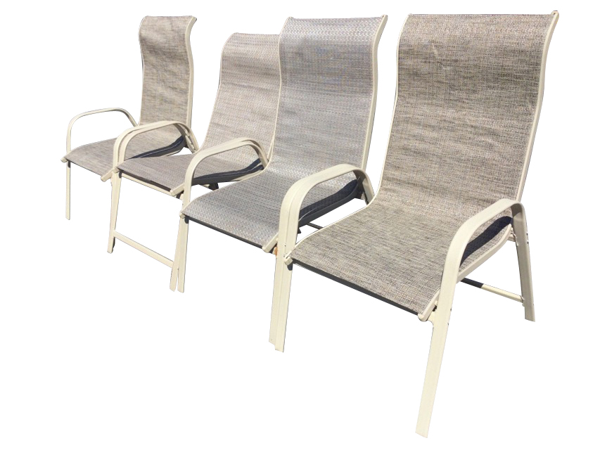 A set of four garden armchairs with fabric type seats on rounded rectangular metal frames. (4)