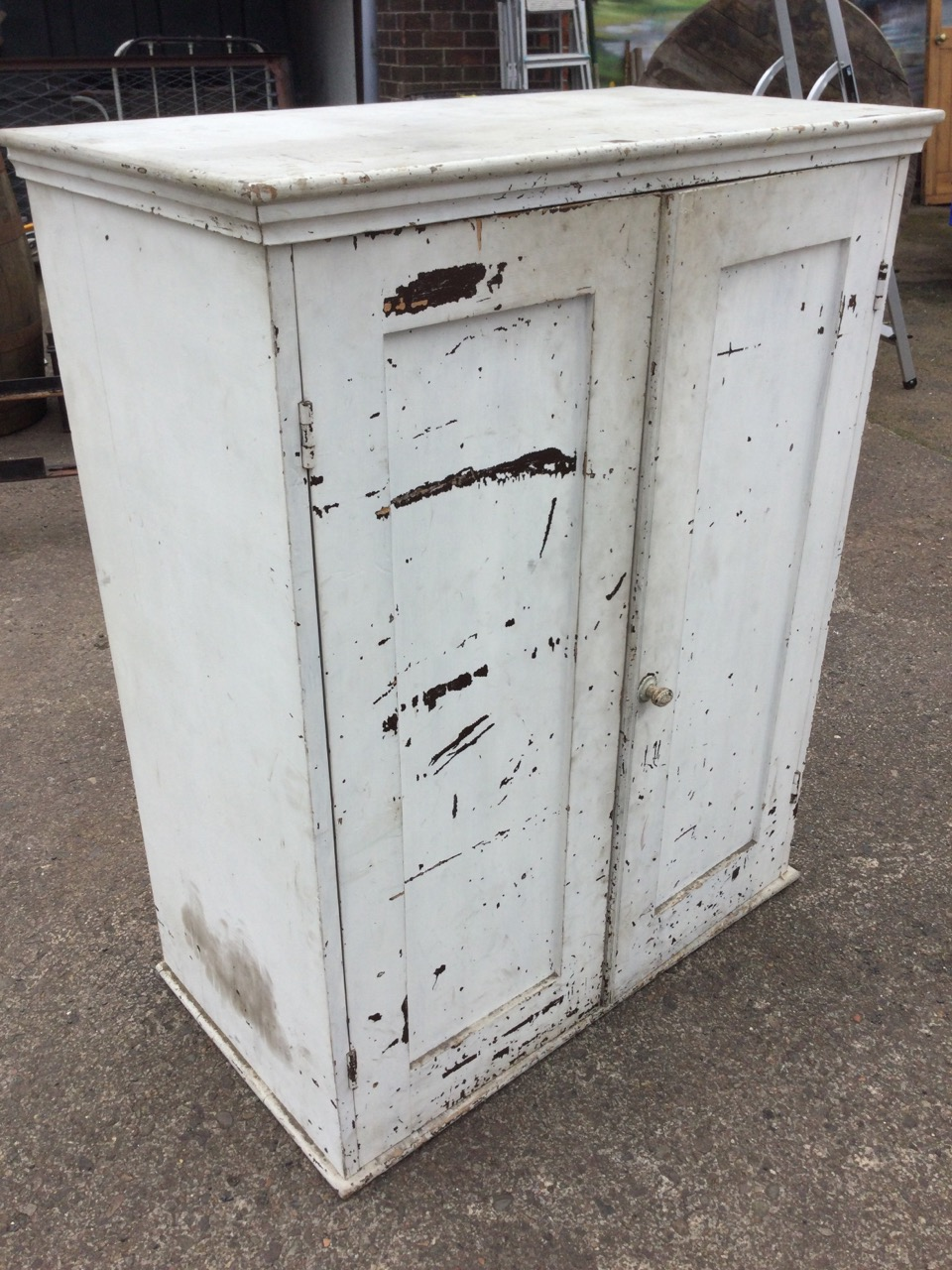A Victorian painted panelled door pine cupboard, the doors enclosing shelves, with rectangular