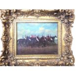 A nineteenth century style gilt framed porcelain panel depicting mounted racehorses after Veal dated