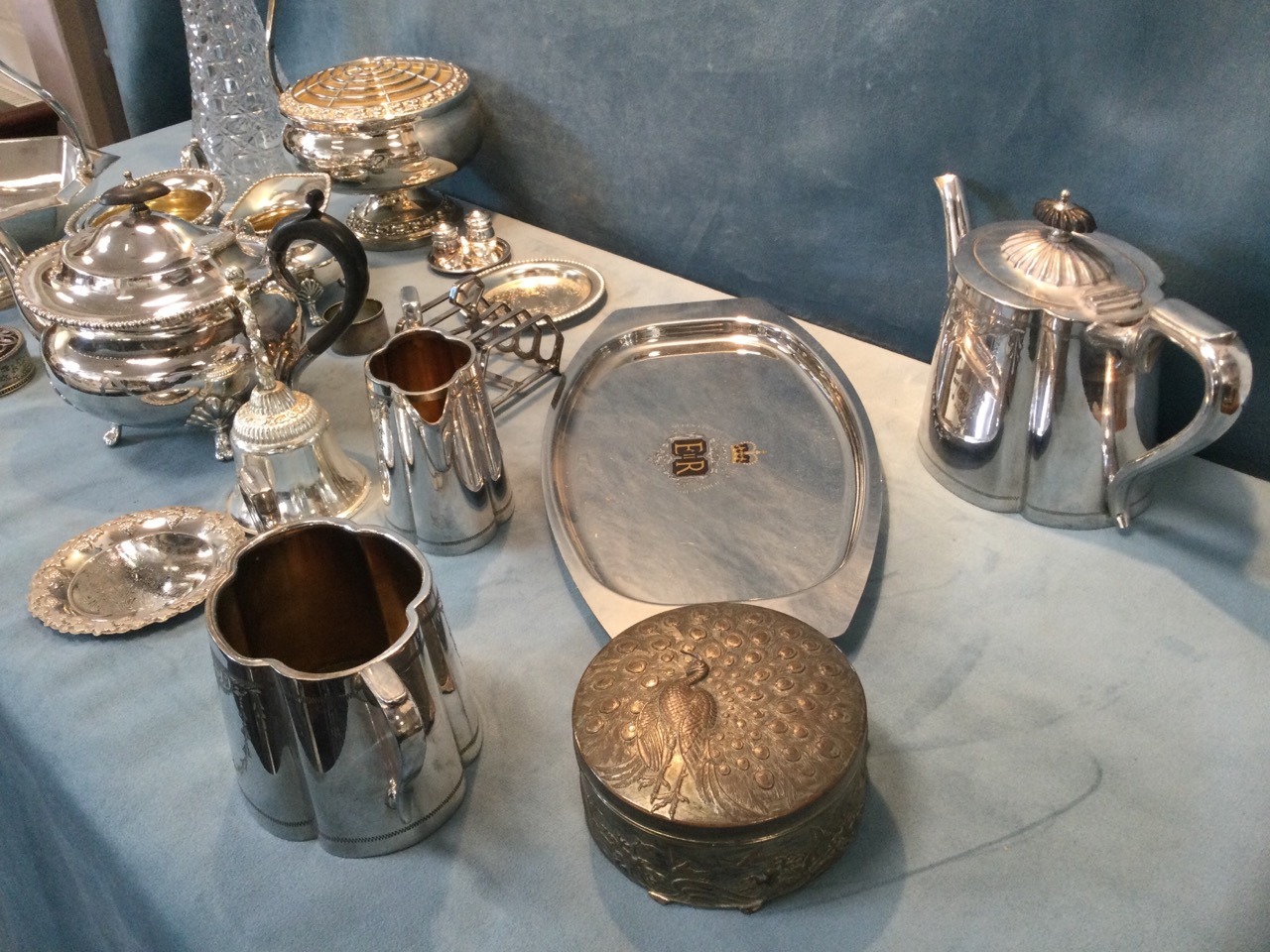 Miscellaneous silver plate including two Edwardian three-piece teasets, a rose bowl, a tapering - Image 2 of 3