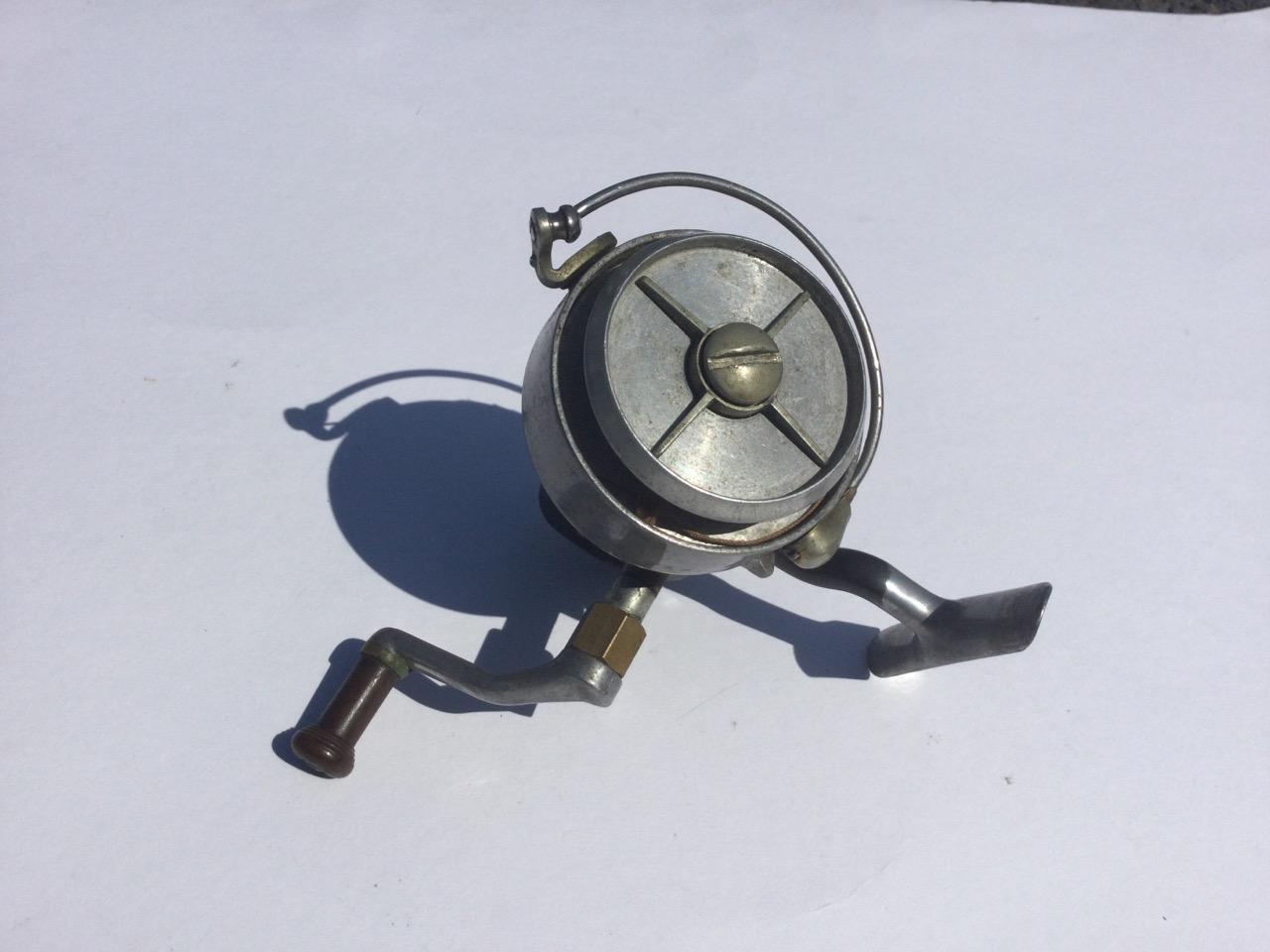 A Hardy Altex spinning reel, No 2 Mark V, having grey metallic body and folding handle.