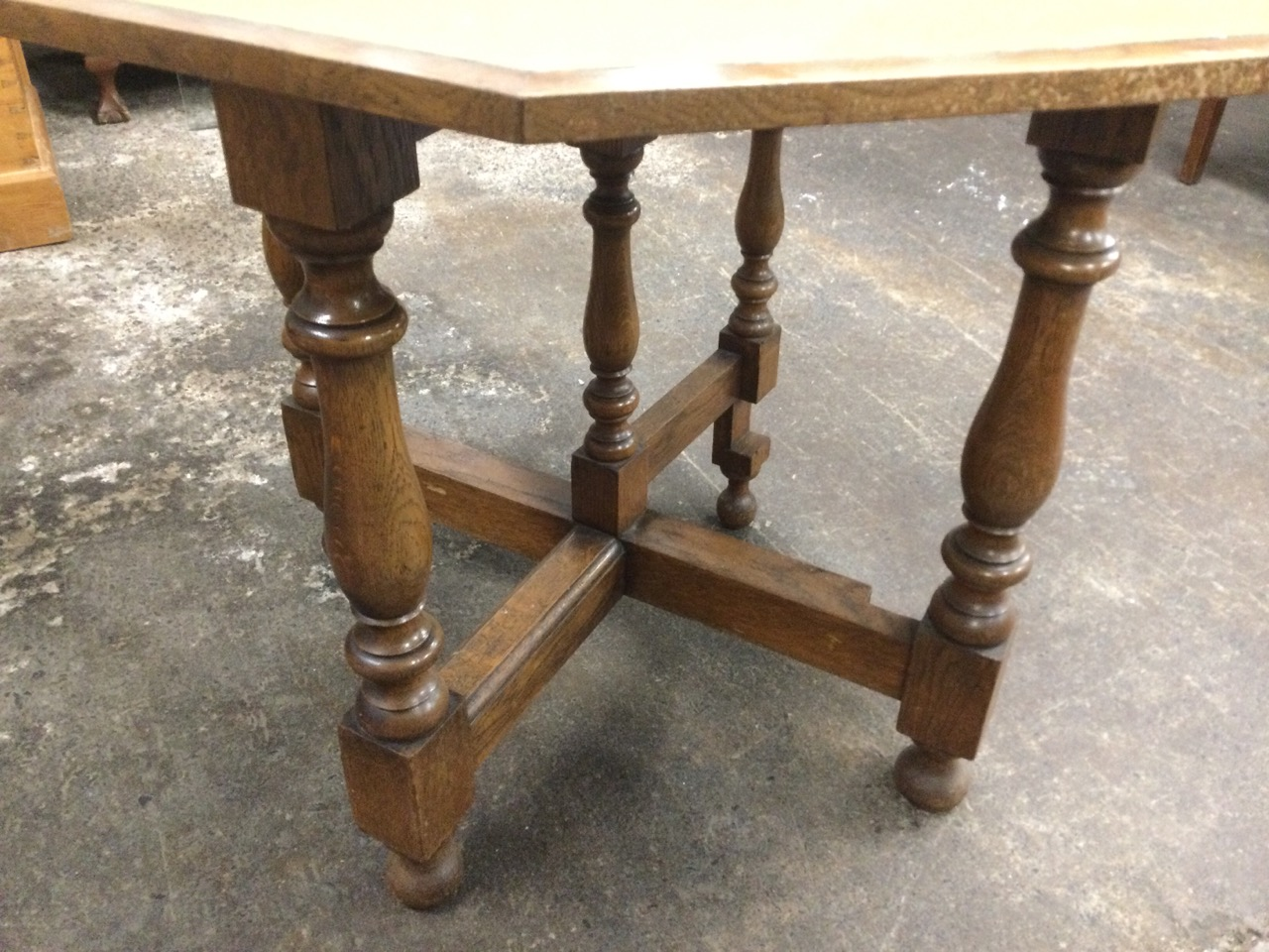 An octagonal walnut turn-over-top games table having baize lined interior, raised on baluster turned - Image 3 of 3