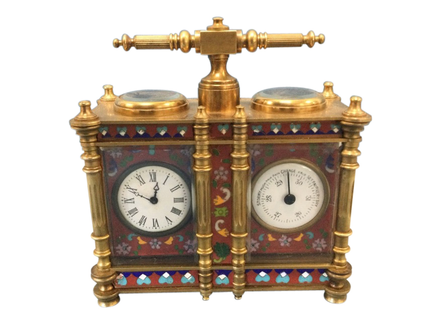 A French Edwardian enamelled brass desk-top clock barometer, the twin instruments with enamelled