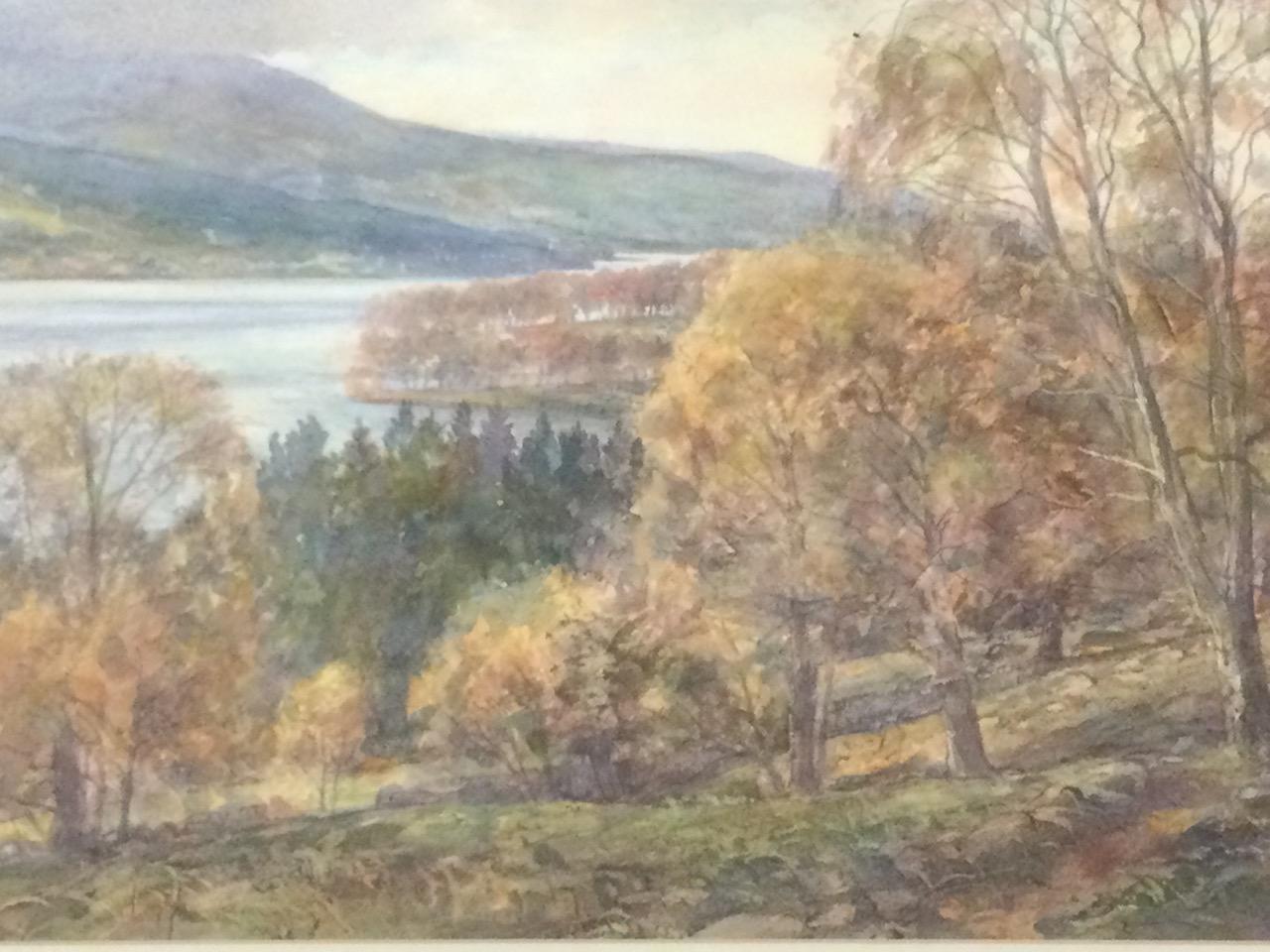 John Fisher, watercolour, Scottish landscape, inscribed to label verso Loch Tummel & Schiehallion, - Image 3 of 3
