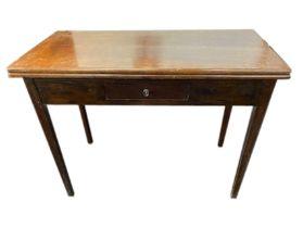 A late nineteenth century Georgian style turn-over-top mahogany tea table, the plain rectangular