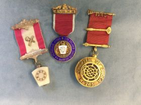 A hallmarked silver Jewish masonic medal, dated 1948 to barred ribbon; an enamelled hallmarked