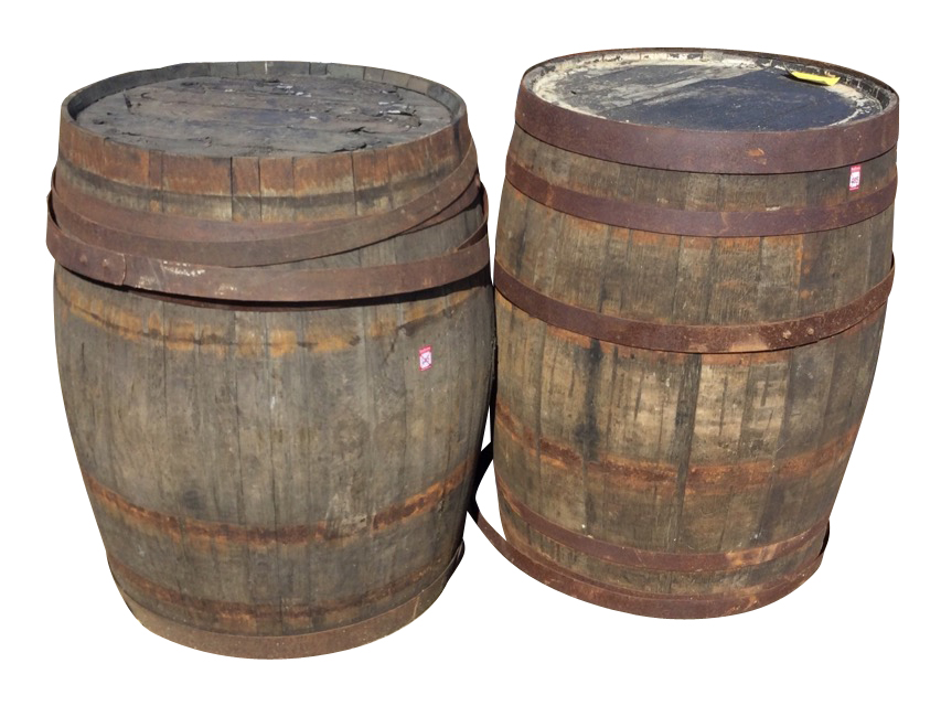 A pair of large oak whiskey barrels, the staves bound by riveted strap bands - some loose. (34.75in)
