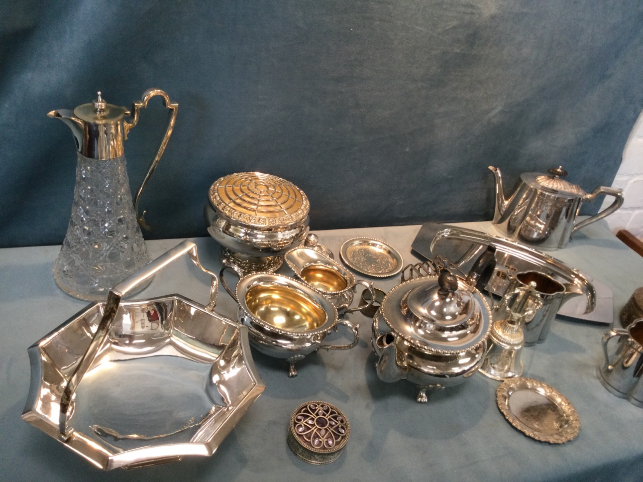 Miscellaneous silver plate including two Edwardian three-piece teasets, a rose bowl, a tapering - Image 3 of 3