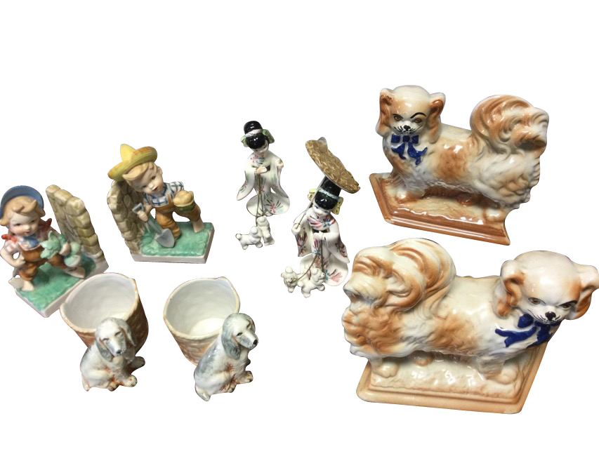 Four pairs - Japanese girls with parasols & dogs, Royal Art Pottery spaniels by baskets, boy &