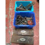 Miscellaneous tools including two cased socket sets, wood handled augers, spanners, hammers, a