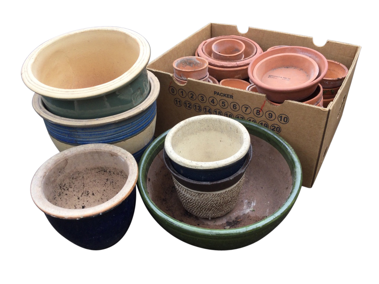 A box of 48 miscellaneous terracotta flowerpots; and 6 stoneware flower tubs & bowls with glazed