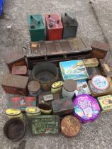 Miscellaneous tins including three shell oil cans, biscuit tins, an ammunition box, toffee tins,