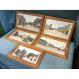 Stuart Rutherford, a set of five handcoloured prints depicting Victorian Wooler with figures on