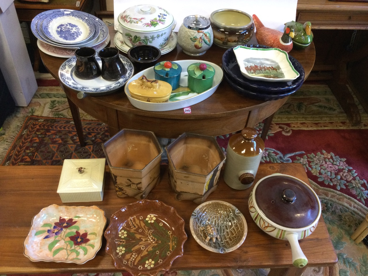 Miscellaneous ceramics including a graduated trio of willow pattern ashets, a Spode platter,