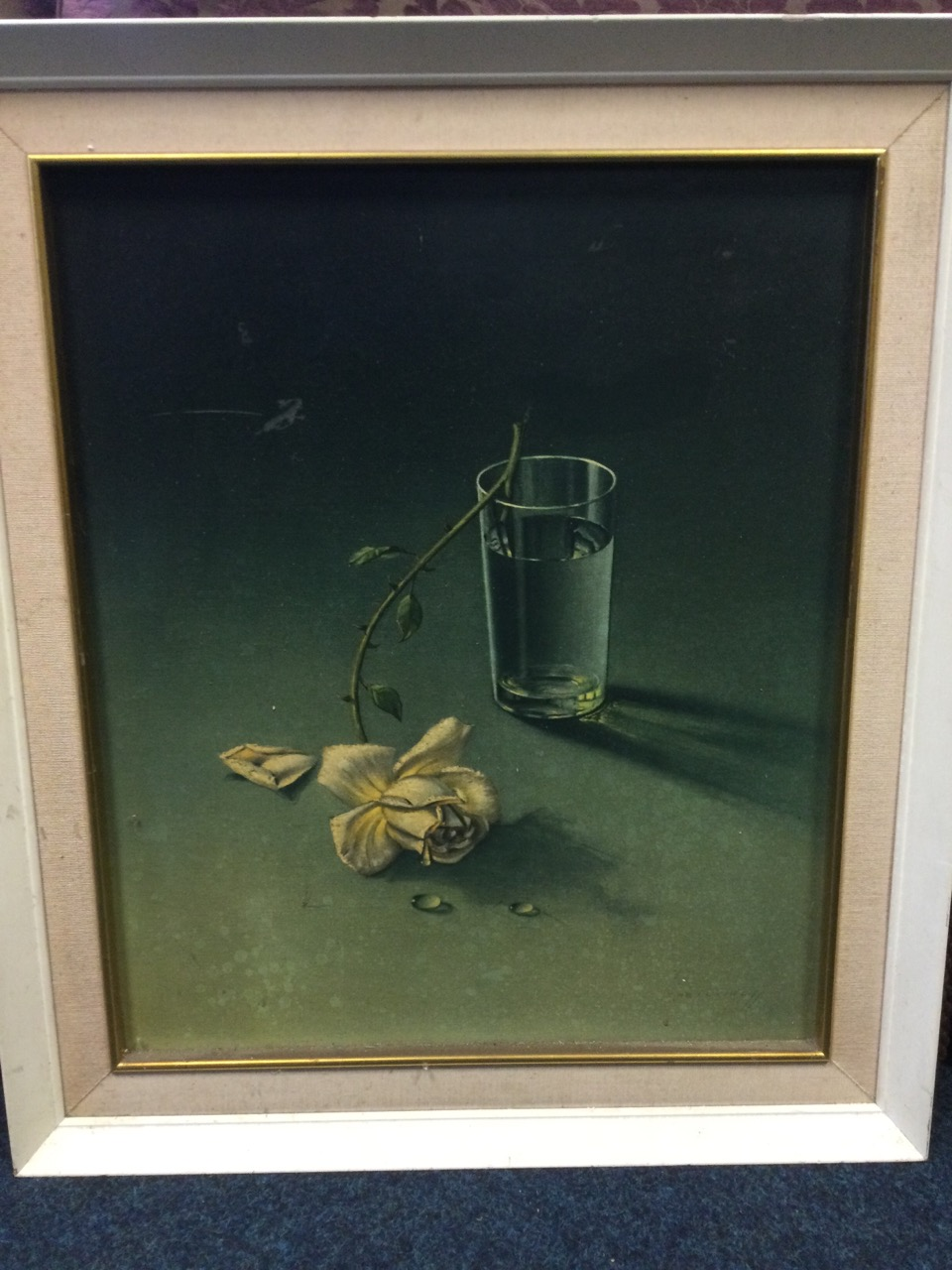 Tretchikoff, a classic vintage 60s print titled Weeping Rose, the still life in original frame. ( - Image 2 of 3