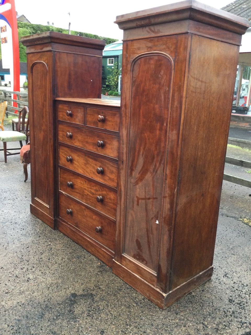 A nineteenth century mahogany sentrybox wardrobe, with pair of arched panelled door hanging - Image 3 of 3