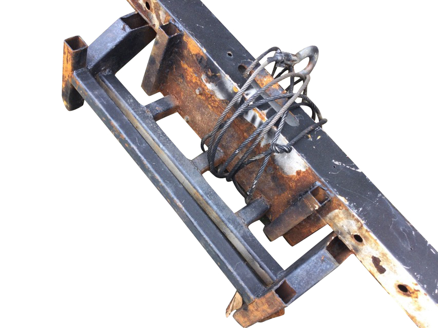 A winch from the back of a land rover, with steel cable, electric motor, fender, etc. (64in)
