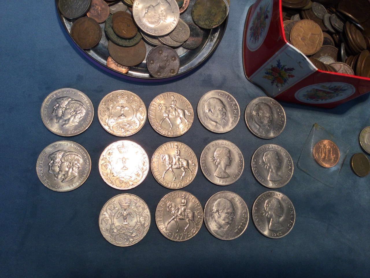Two tins of miscellaneous coins - pennies, coins, halfpennies, crowns, threepenny bits, sixpences, - Image 2 of 3