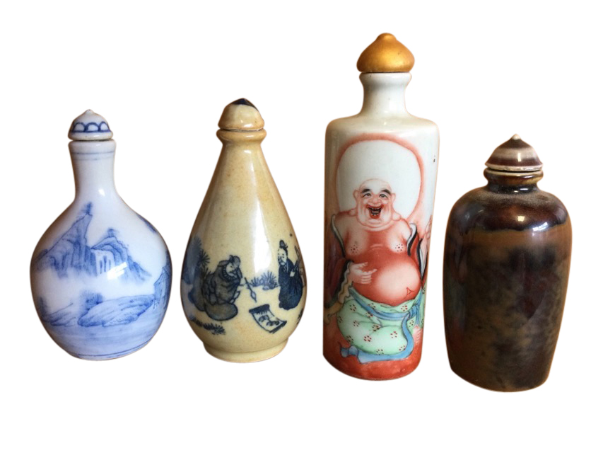 A blue & white ovoid snuff bottle decorated with continuous landscape scene; another tubular with