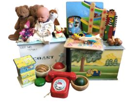 Two wood toy boxes filled with toys – teddy bears, a doll, a cuddly fox, a small set of drawers,