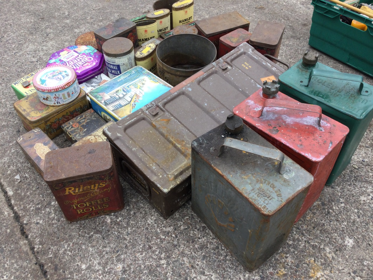 Miscellaneous tins including three shell oil cans, biscuit tins, an ammunition box, toffee tins, - Image 2 of 3