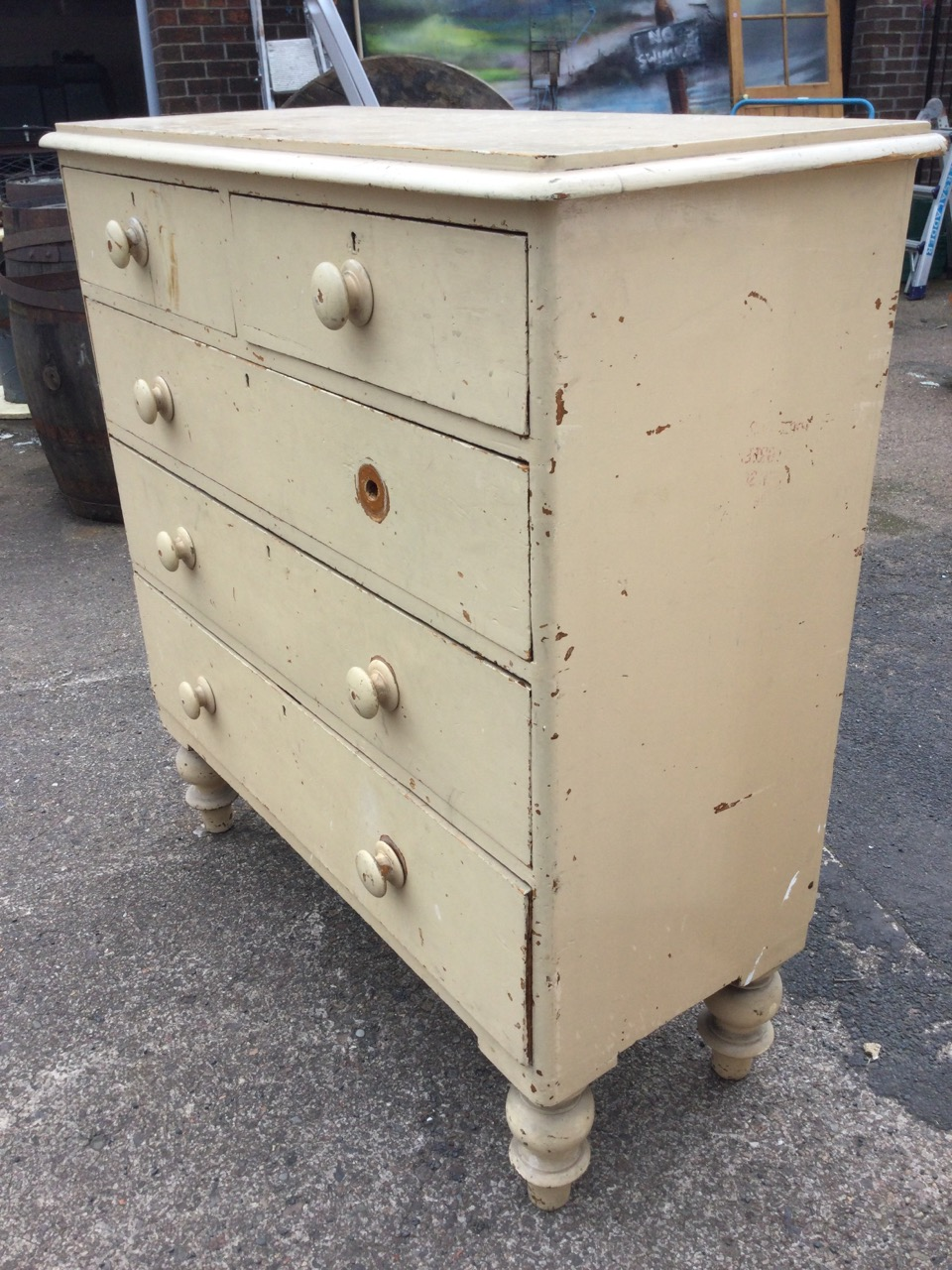 A Victorian painted pine chest of drawers, the rounded moulded top above two short and three long - Image 3 of 3