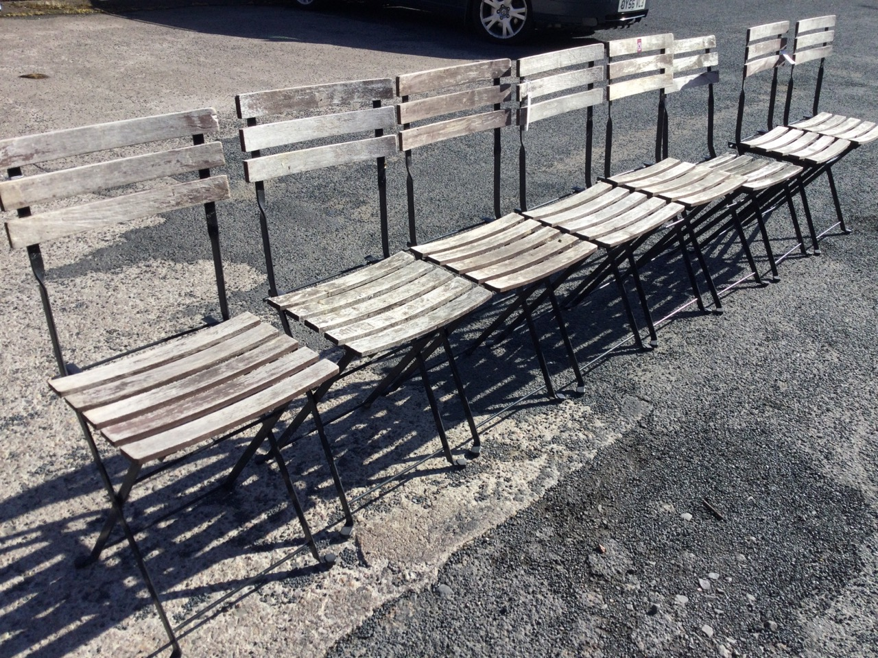 A set of eight folding garden chairs with slatted backs & seats on rectangular frames. (8) - Image 3 of 3