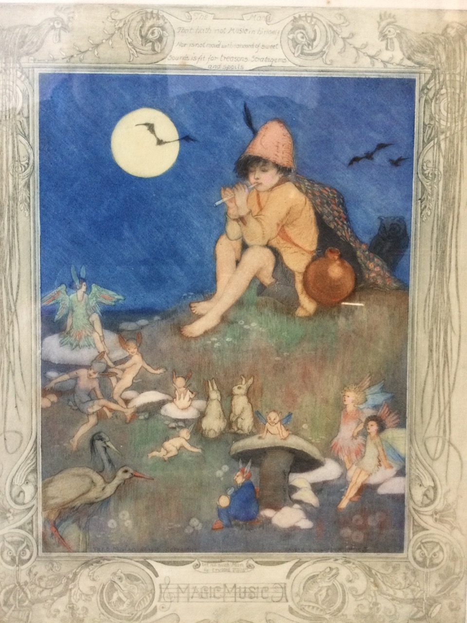 A 1918 etching by Averil Burleigh & Fred Millar, the plate titled Magic Music, handcoloured and - Image 2 of 3
