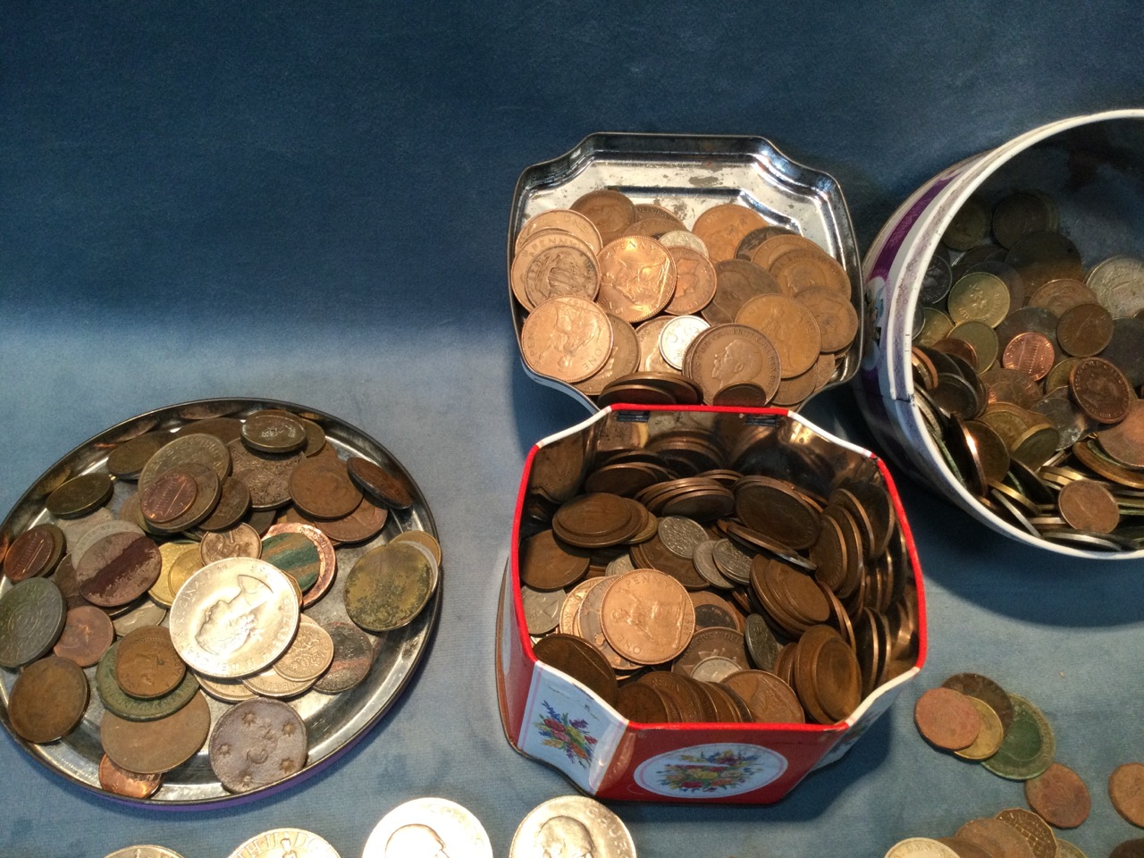 Two tins of miscellaneous coins - pennies, coins, halfpennies, crowns, threepenny bits, sixpences, - Image 3 of 3