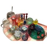 Miscellaneous glass including a large punch pot & cover with ladle, vases, jugs, a bowl with