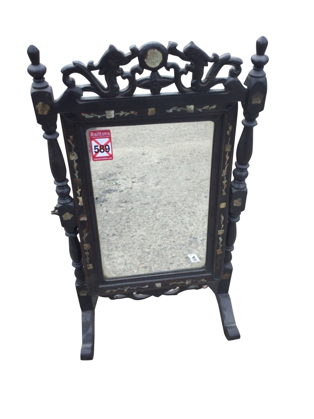 A nineteenth century carved Chinese dressing table mirror, inlaid with mother-of-pearl decoration